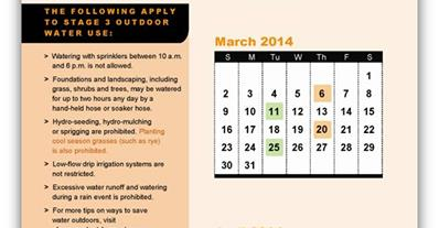Link to April 2014 Stage 3 Water Calender